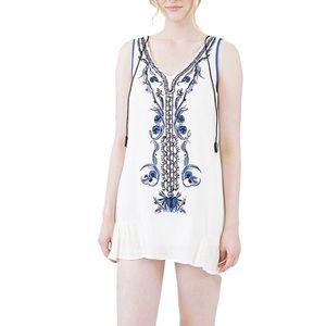 5/$30 Embroidery white linen summer beach Dress